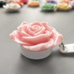 Image 4 - 15Pcs/Lot Colorful Resin Rose Design Nurse Retractable Badge Reel Holder Pull ID Card Badge Holder Belt Clip Hospital School