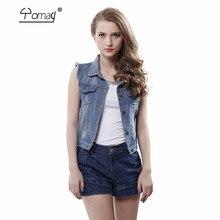 Yomay woman fashion Sleeveless Women jacet Denim Tops Turn Down Collar Cardigans Personalized Lady Denim Jean