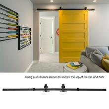 Walfront 6.6ft Sliding Barn Door Hardware Kit Top Mounted Hanger Track Black Easy Install Wooden Top Doors Roller Rail track Kit kone door hanger roller 45 16 6000rs