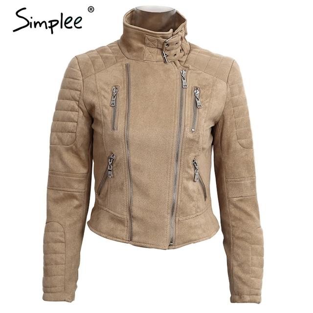 Simplee Faux leather suede outerwear & coats Short slim basic jackets female jacket coat women Winter 2016 autumn streetwear