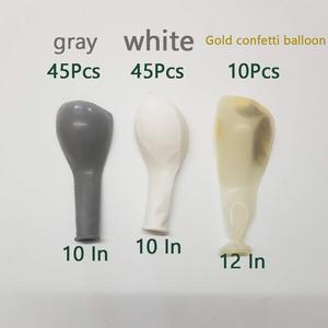 Image 3 - Megable 100 pçs cinza branco látex balões com ouro confetes balões arco kit, para festa de aniversário do casamento decoração do chuveiro de bebê
