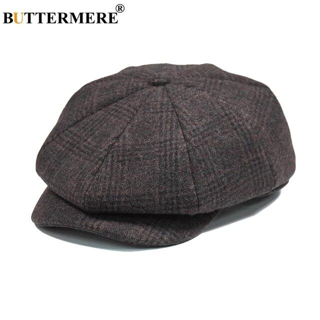 BUTTERMERE Mens Plaid Flat Beret Cap Wool Brown Winter Autumn Vintage  Newsboys Hats Male British Cabbie Octagonal Gatsby Caps c87c73db082