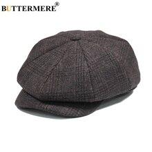 BUTTERMERE Mens plana gorra de lana de boina marrón Otoño Invierno Vintage  repartidores sombreros hombre británico 91cb56dfc3e