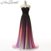 Vestidos 2017 Prom Dress Gradient Ombre Chiffon Floor Length Zipper Back Formal Evening Party Dresses For Graduation