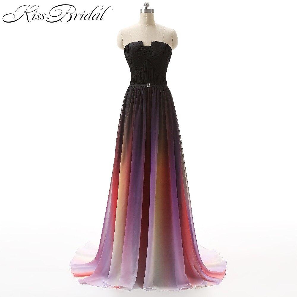 Vestidos 2017 robe de bal dégradé Ombre en mousseline de soie longueur au sol fermeture à glissière dos formelle robes de soirée pour l'obtention du diplôme