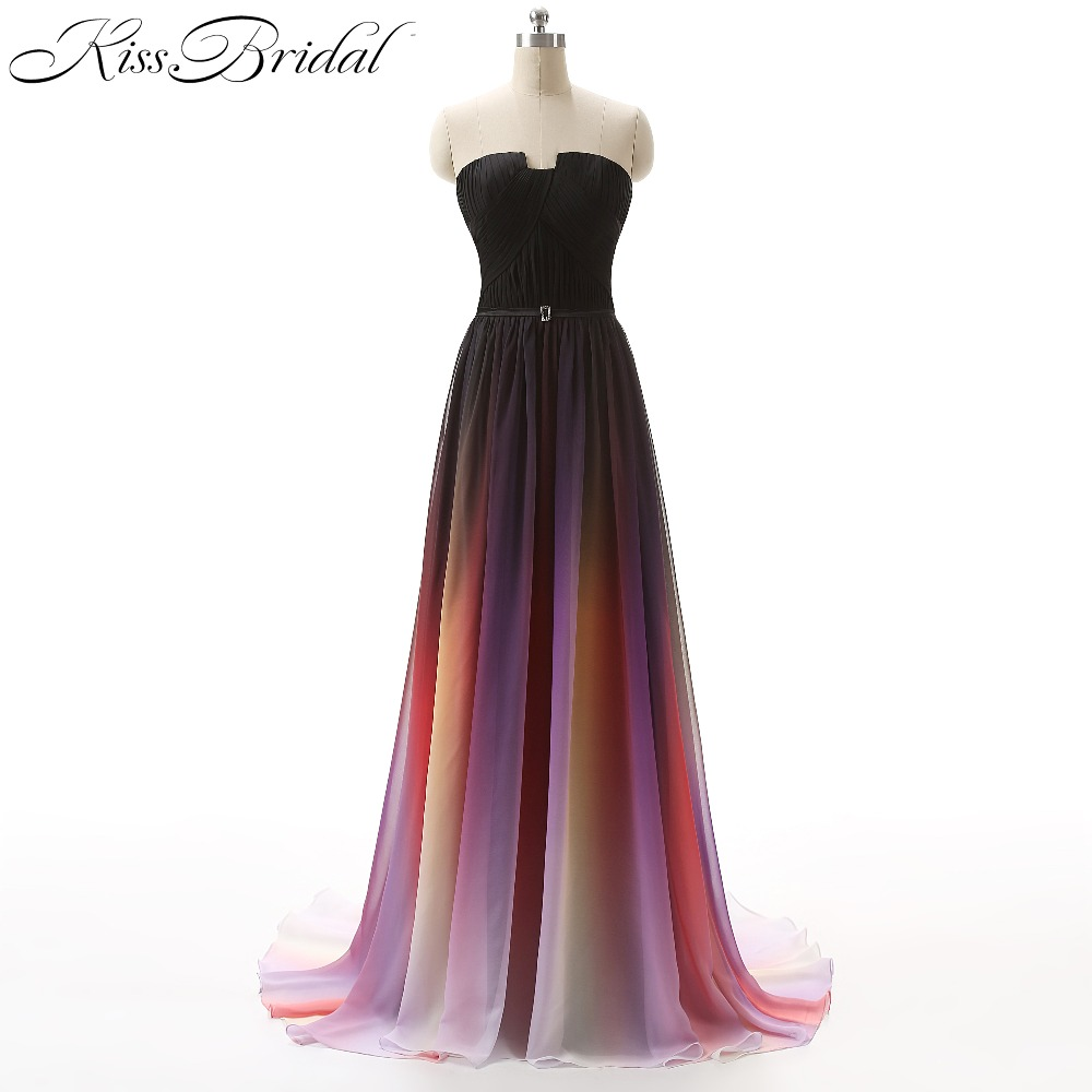 Vestidos Prom Dress Gradient Ombre Chiffon Floor Length Zipper Back Formal Evening Party Dresses For Graduation