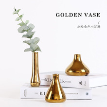 American Nordic ins ornaments creative golden ceramic vase flower appliances household living room decorations inserts