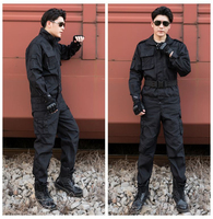 Cool Good Quality Black Army Uniform Shirt&Pants For Men Security Working Field Military Training Camping Climbing Free Shipping