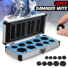 MTGATHER 10Pcs Damaged Bolt Nut Screw Remover Extractor Removal Set Nut Removal Socket Tool Black 9 19mm