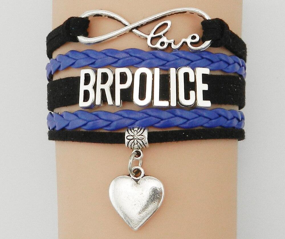 53afb7fbacb280 Drop Shipping Bransoletka Nieskończoność Miłość BR Policji Serce  Charm-Dostosowane