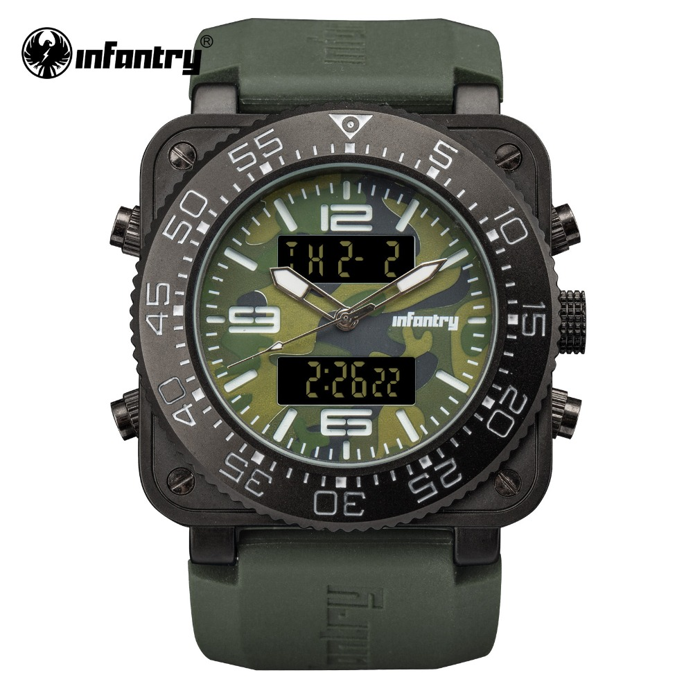 INFANTRY Military Watch Men Digital LED Wristwatch Mens Watches Top Brand Luxury Army Tactical Square Green Relogio Masculino infantry military watch men square digital led wristwatch mens watches top brand tactical army sport nylon relogio masculino