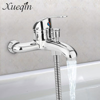 Xueqin Zinc Alloy Basin Faucets Chrome Wall Mounted Hot Cold Water Dual Spout Mixer Tap Faucet
