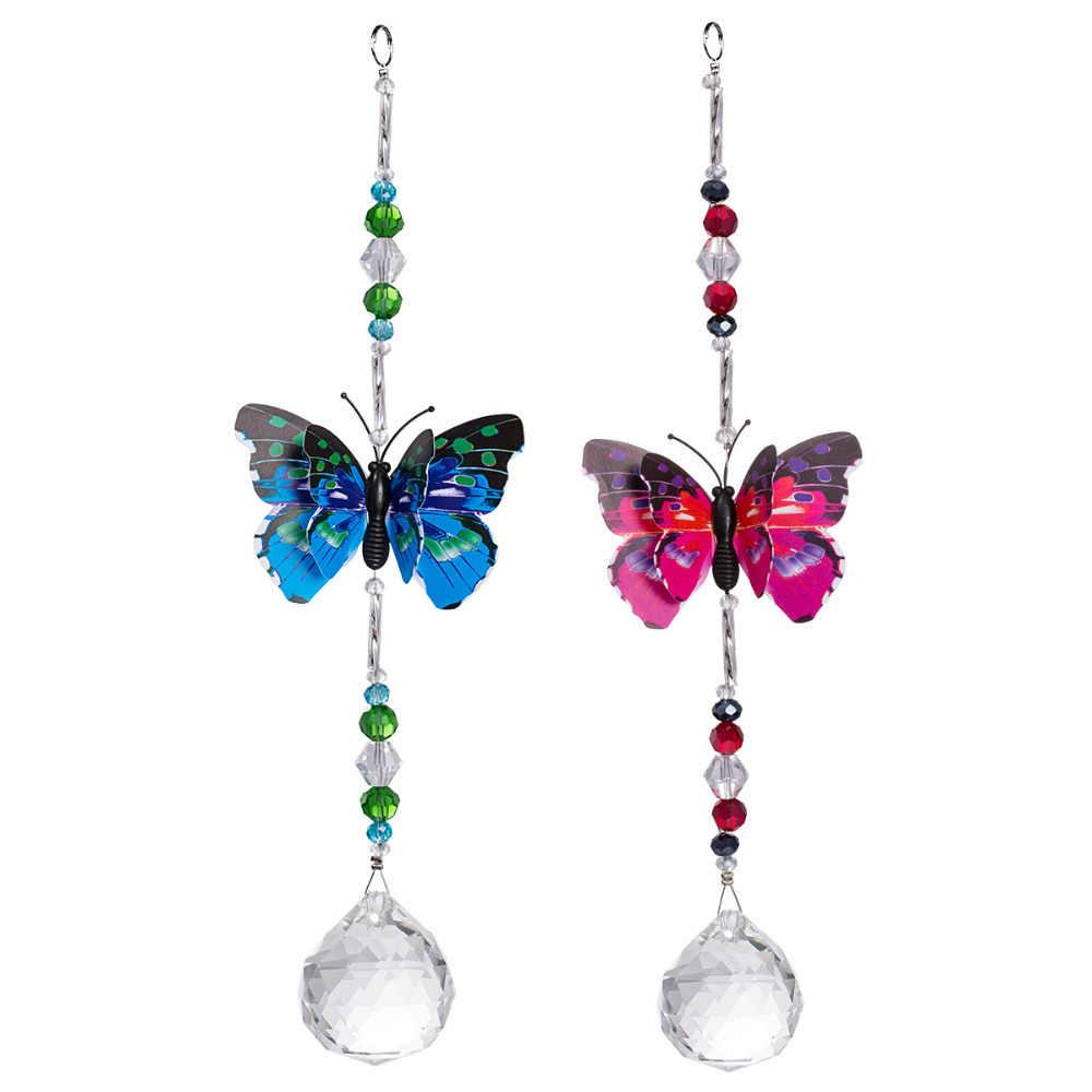Crystal Prisms Ball Suncatcher Butterfly Hanging Ornament Car Pendant Home Decor