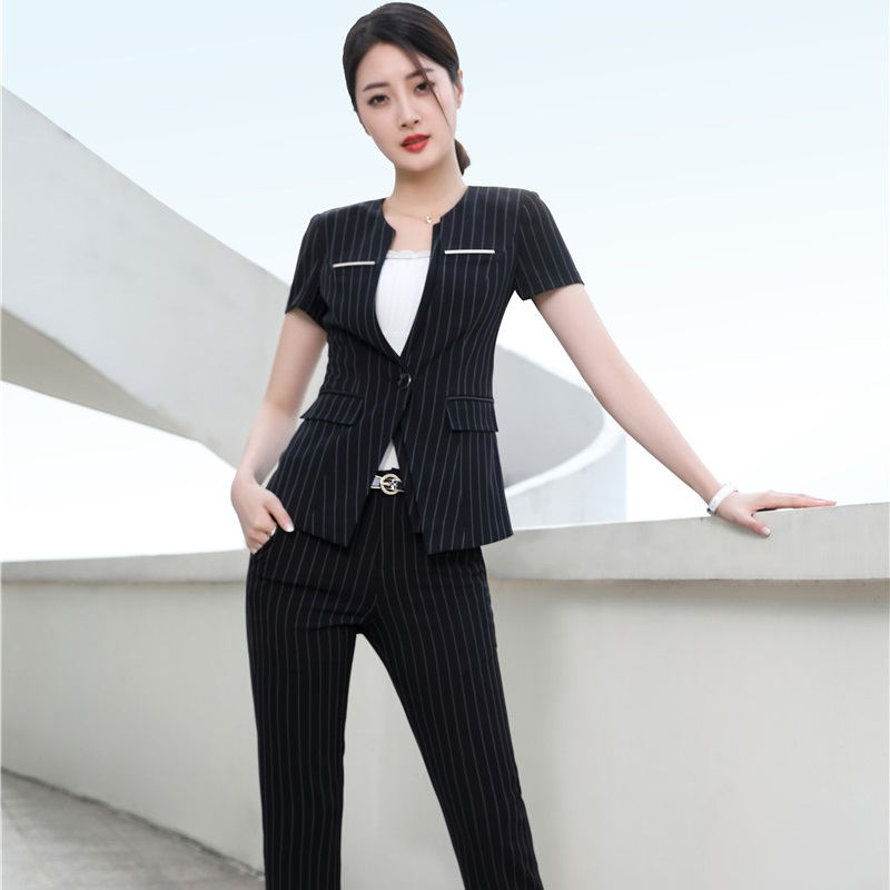 Summer Short Sleeve Fashion Striped Business Women Suits With Jackets And Pants Female Trousers Sets Office Blazers Outfits