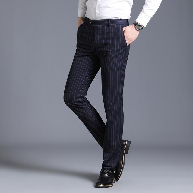 29-38 Streetwear Formale Kleid Hosen Männer Mode Tasche Seite Büro Hosen Männer Stretch Striped Hochzeit Hose für Business mann