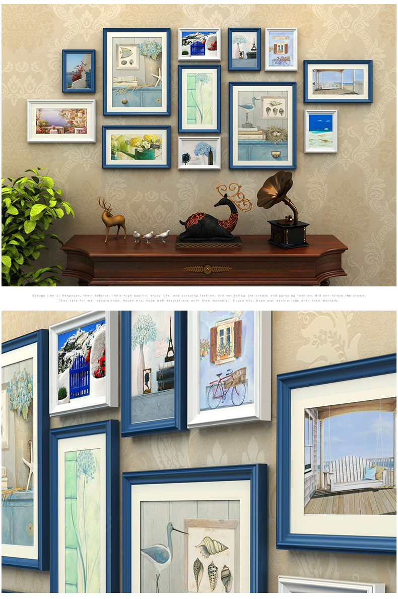 12 unids/set con negro pared marcos de fotos, marco de fotos de ...