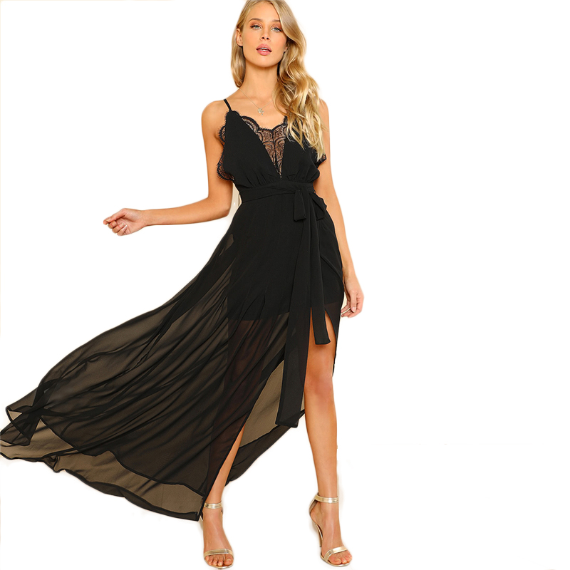 COLROVIE Black Backless Lace Plunge V Neck Slit Summer Dress 2018 New Strap Sexy Maxi Dress Elegant Evening Party Dress 10