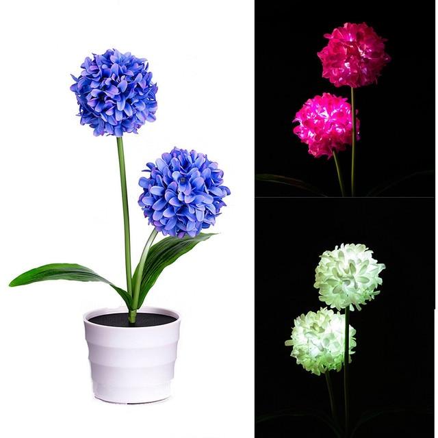 2018 New High Quality Solar Onion Ball Flower Lights Led Artificial Rose Pot Bonsai Lamp Lighting Drop Shipping