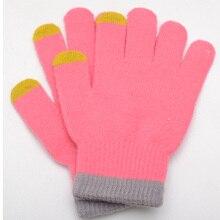 Winter Warm Women Touch Screen Fitness Glove Pink Knitted Mittens Women Guantes