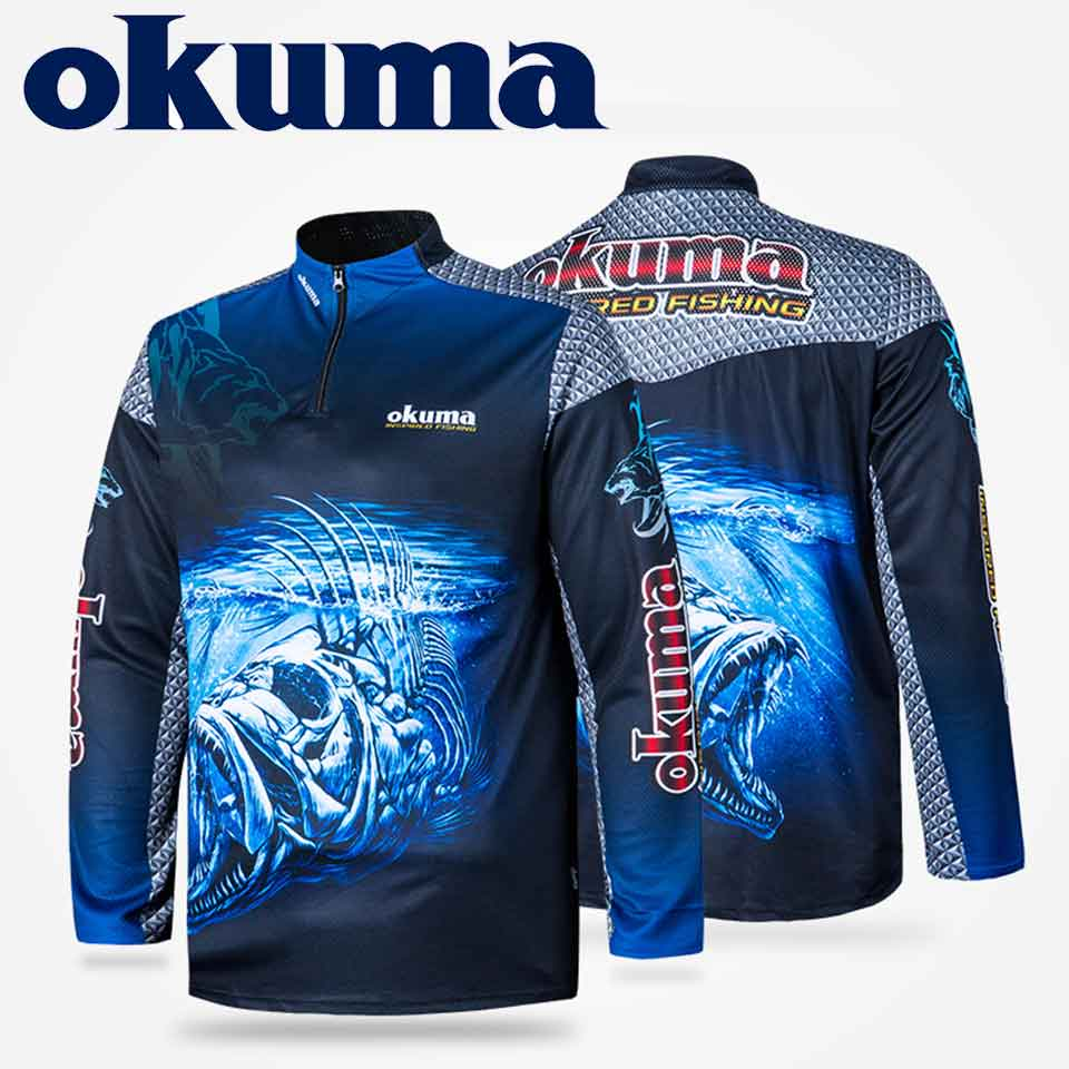 Original OKUMA Fishing Clothes Fishing Shirt Fishing Jerseys Breathable Sweat-absorbing Sunscreen Outdoor Sport