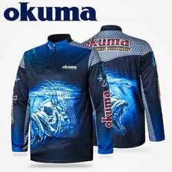 Oryginalne ubrania wędkarskie OKUMA koszula wędkarska koszulki wędkarskie oddychająca pochłaniająca pot ochrona przeciwsłoneczna Outdoor Sport