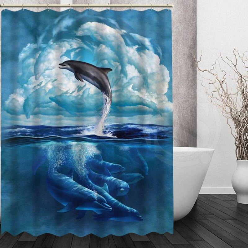 Custom Cute Dolphin Shower Curtain High Quality Waterproof Fabric Bathroom  Curtain Home Decoration(China (
