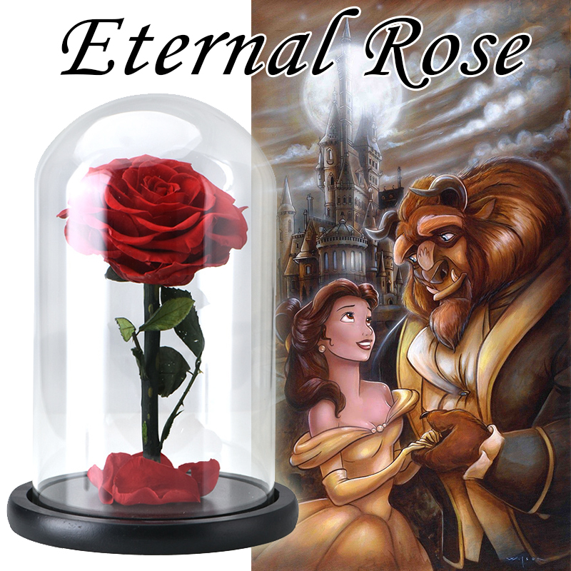 NEW Beauty and the Beast Red Eternal Rose in a Glass Dome on a Wooden Base Artificial Flowers for Valentine's Christmas Gifts