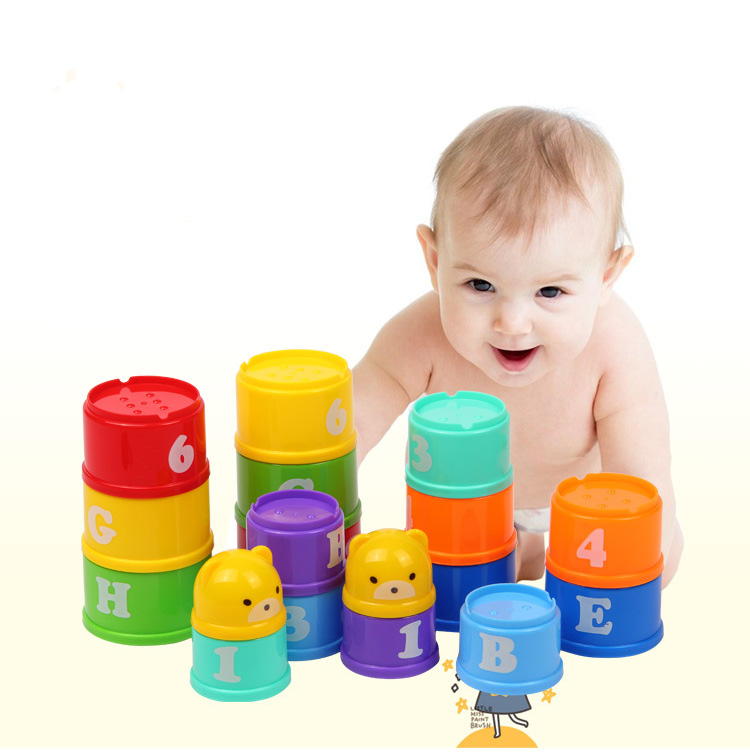 MiniTudou Educational Baby Toys Foldind Stack Cup Tower For 6 Month Plus Child..