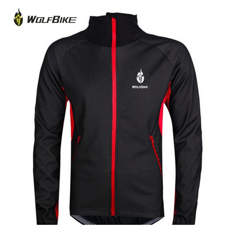 WOLFBIKE Men Fleece Thermal Winter Wind Cycling Jacket Windproof Bike Bicycle Coat Clothing Long Sleeve Jersey black with red black thermal fleece cycling clothing winter fleece long adequate quality cycling jersey bicycle clothing cc5081