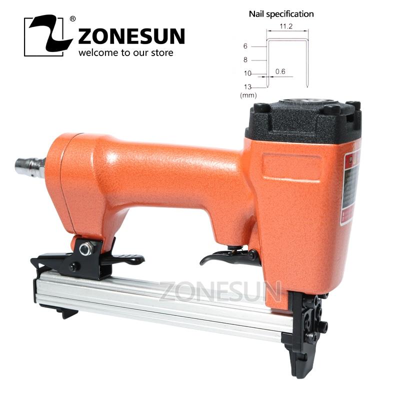 ZONESUN 1013J Nail Gun Pneumatic Micro Pinner Nailer Air Brad Headless Pin Gun For Furniture Wood Sofa Air Stapler 11.2mm