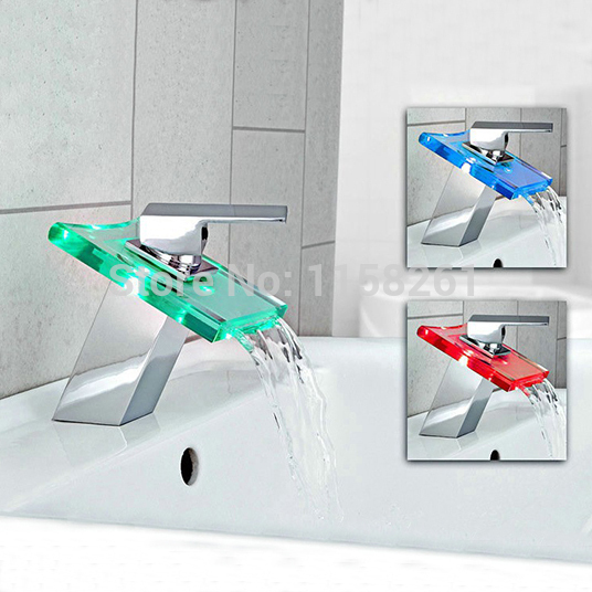 Basin Faucets LED Green Red White Light Change 3 Color Waterfall Bathroom Sink Taps Temperature Sensor Deck Mounted Taps WF-6072