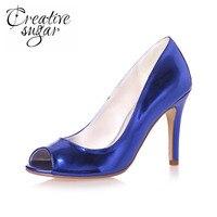 Creativesugar лакированной кожи металлические высокой пятки simple peep toe обувь simple стиль синий золото серебро открытым носком насосы пром