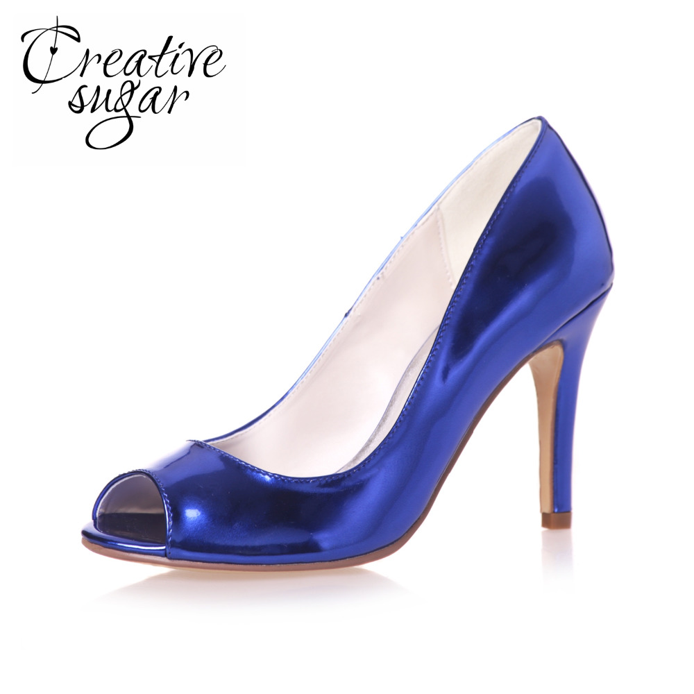 Creativesugar Patent leather metallic high heel simple peep toe shoes simple style blue gold silver open toe pumps party prom creativesugar patent leather stiletto sandals metallic gold silver royal blue high heels platform sandals for party fashion show
