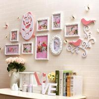 Romantic Wall Decoration Wood Photo Frame Set,Butterfly Rose Decor 8 pieces Photo Frames Combination For Wedding Family Picture