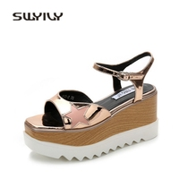 SWYIVY Woman Sandals Platform Star 2018 Ankle Strap Female Casual Summer Shoes Wedge Woman Sandals Sandales Pour Femmes 34 Size