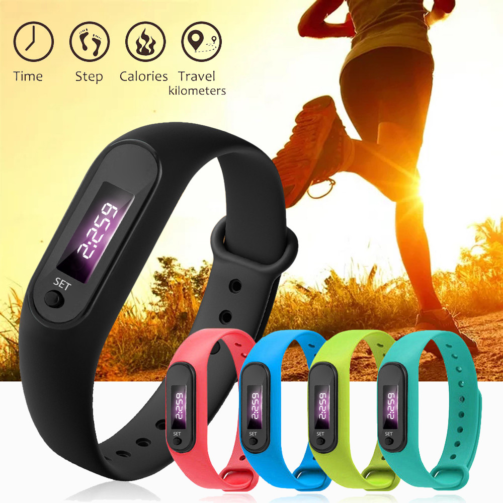 Digital LCD Silicone Wirstband Pedometer Run Walking Step Distance Calorie Counter Wrist Women Men Sport Fitness Watch Bracelet(China)