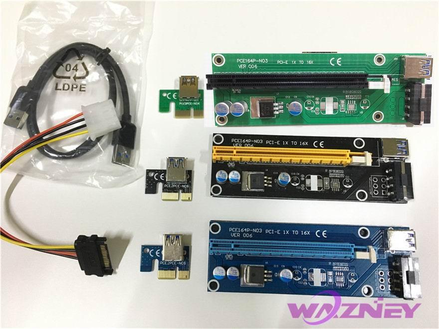 Prix pour PCI-E PCI E Express 1x à 16x Riser Card Extender Adaptateur USB 3.0 Câble Alimentation Molex Pour Bitcoin BTC Litecoin Mineur 100 set