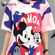 2019 Summer Dress Mickey Mous Cartoon Print Fashion Vestidos Loose Female Mini Dresses Clothes For Women Plus Size M-5XL