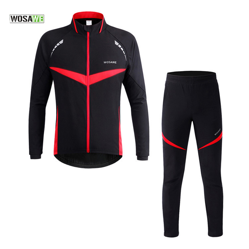 WOSAWE Reflective Protector Winter Cycling Sets Bicycle Thermal Jacket Suits Bike Jersey Pant Ciclismo Climbing Cycling Clothing wosawe cycling jersey sets winter thermal sports pro jersey triatlon bike bicycle clothing jackets pants men women