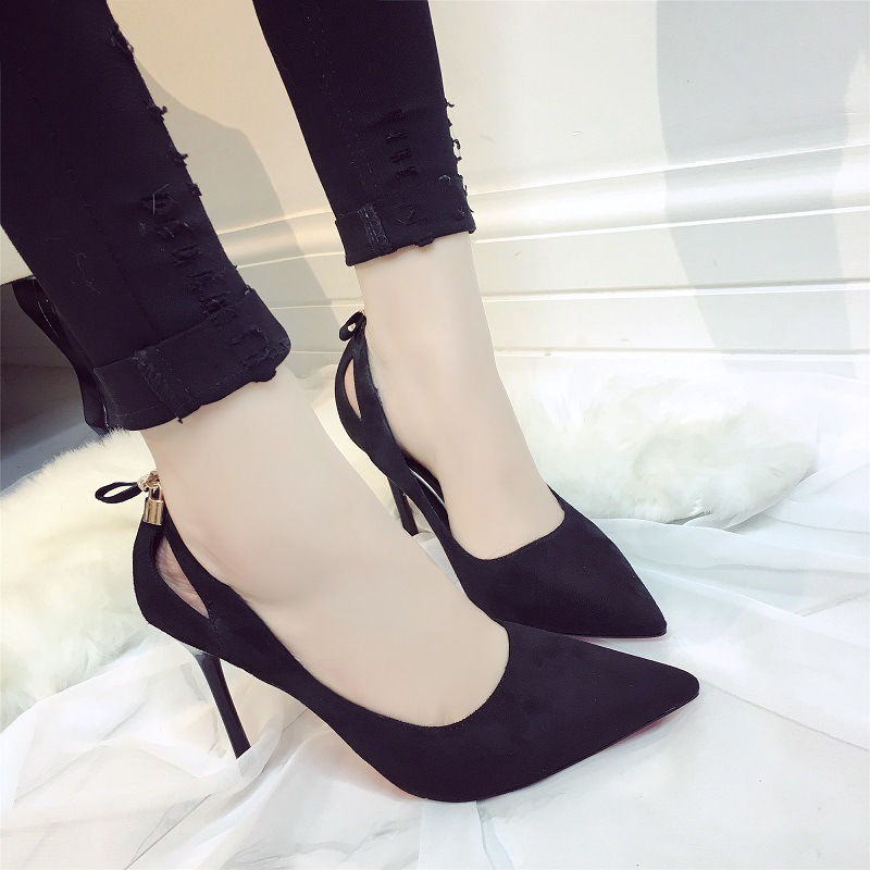 ФОТО 2017 new type of spring shallow mouth NIB fine shoes love lock after the bow high heels shoes