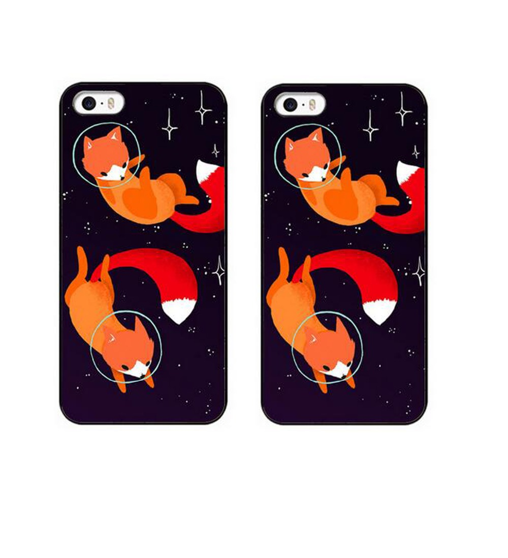 New space foxes Hard Plastic Frame Mobile Case For Apple iPhone 4 4S 5 5S SE 5c 6 6 S Plus7 7plus 8 8PLUS Case