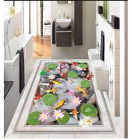 Foto sfondo personalizzato 3d pavimentazione Impermeabile auto-adesione murales di Ghiaia fish pond 3D HD pavimento Adesivi murali pittura carta da parati