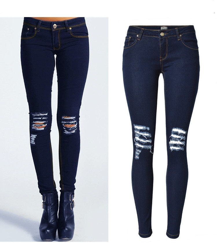 Women Sexy Jeans Low Waist Knee Ripped Holes Fashion Skinny Full Length Elastic Stretch Personality Fit Boy friend Pencil jeans