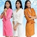 Primavera e Outono manga curta coverall clents envoltório banho kimono robe de veludo coral para salão de beleza Spa