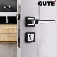GUTE Zinc Alloy Black Mute Bedroom Door Lock Handle Interior Door Knobs Lock Anti theft Lock Furniture Hardware