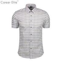 الأبيض والأسود منقوشة قمصان 2018 ربيع جديد الصيف أزياء قميص homme رجل القمصان قصيرة الأكمام قميص الرجال زائد حجم 5xl