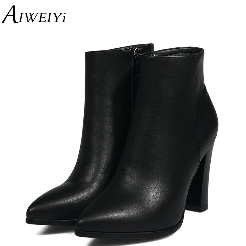 AIWEIYi Pointed Toe Women Shoes Zipper Square High Heels Ankle Boots Women Motorcycle Boots Black Booties Female Winter Boots fashion embroided design spring winter casual women shoes zipper round toe square high heels women ankle booties free shipping
