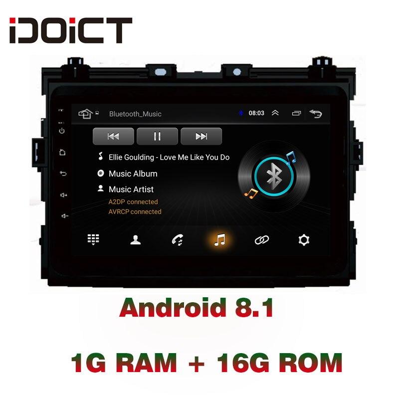 Lecteur DVD de voiture IDOICT Android 8.1 Navigation GPS multimédia pour Toyota Previa Radio autoradio bluetooth