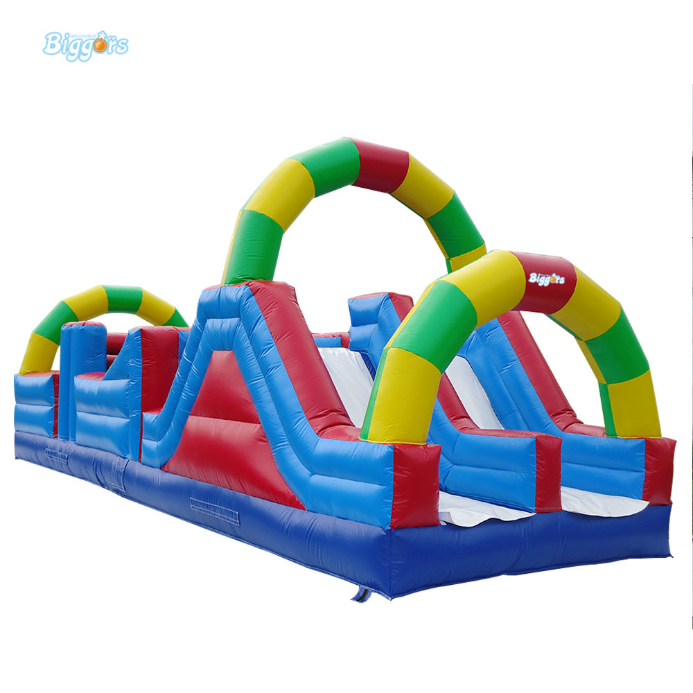 Sea Free Delivery Inflatable Mattress Obstacle Course With Sliding And Bouncing Area For Rental