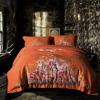 80S Cotton Floral Print Embroidered Luxury Wedding Bedding set King Queen size Bed/Fit sheet set Duvet cover Pillow shams